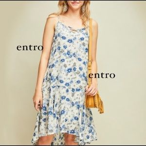 Entro Floral Print Sundress with Pockets Hi Low S
